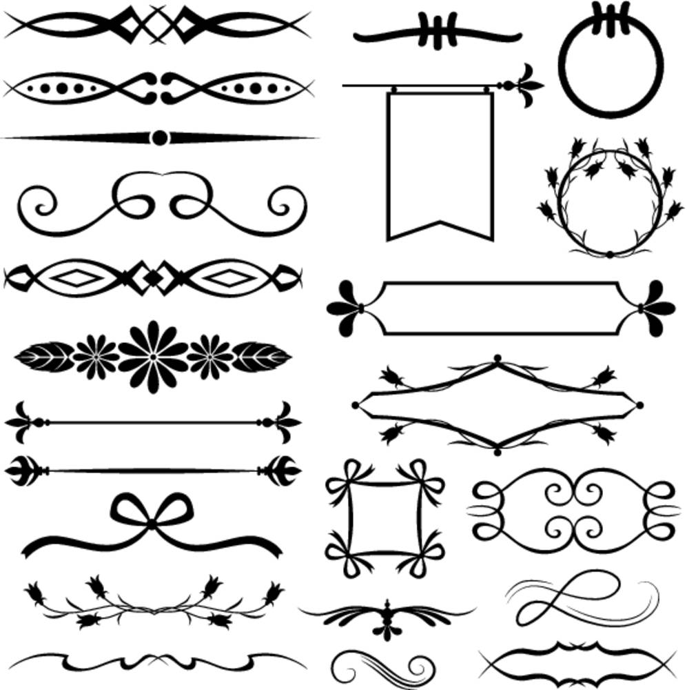 线条,弓,丝带,百合,箭头,圆,响铃,旗帜,黑白,象征,黑色,剪影,电脑制图图片