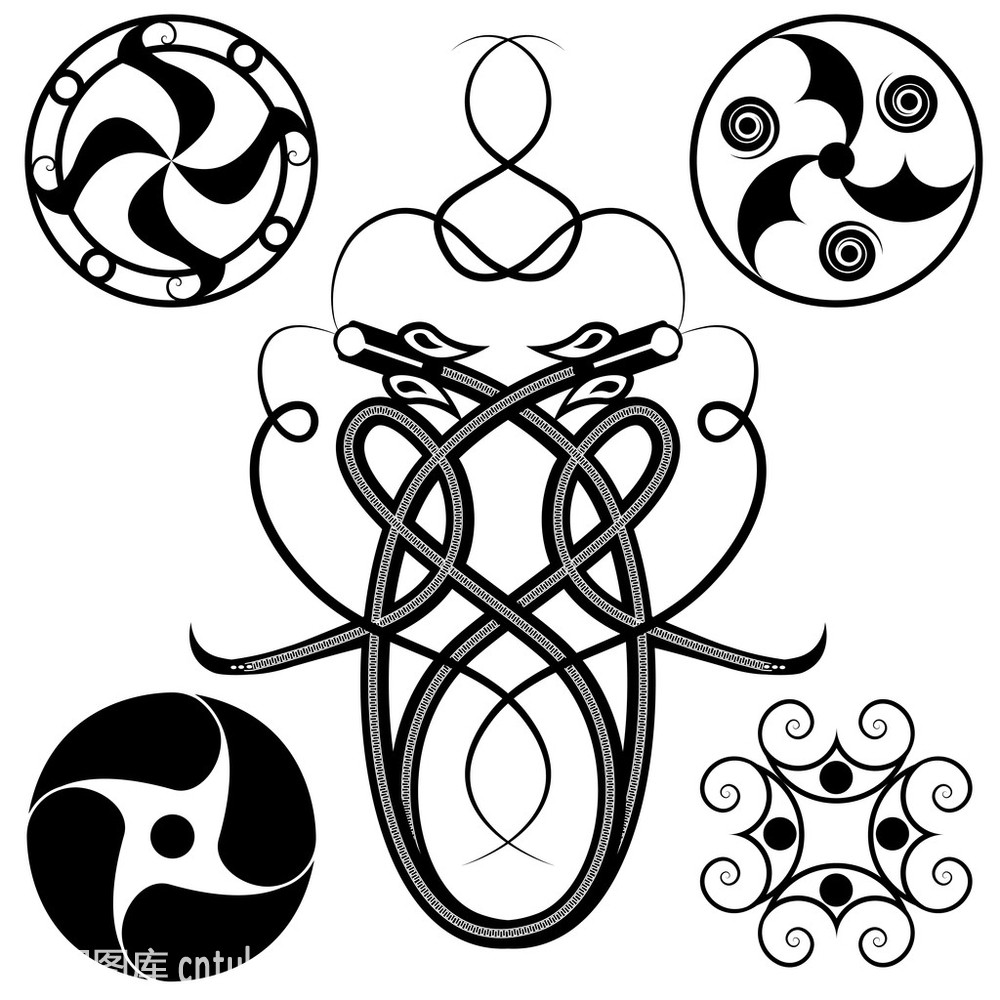 白色,标志,传统,黑色,凯尔特风格,龙,蛇,神话,式样,纹身,装饰,环形图片