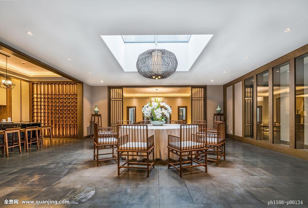 中式风格楼盘别墅样板间开放式厨房餐厅实景图片