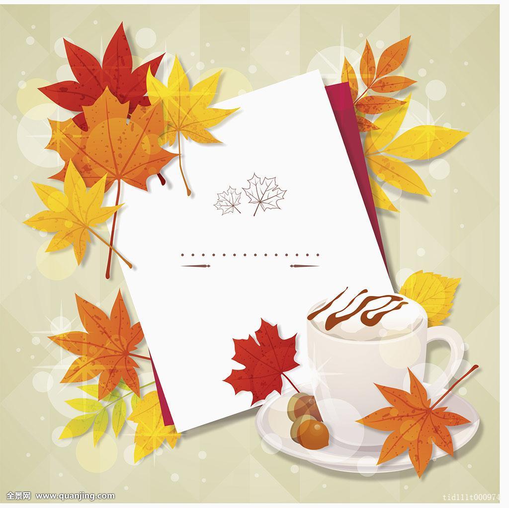 背景,秋天,信纸,秋叶,橡子,咖啡图片