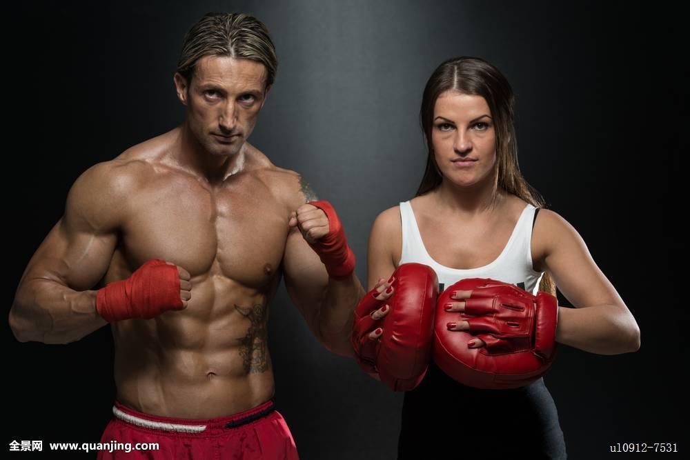 搏击�y.d:`�9�%9df:(j_搏击,拳击,训练,教练,击打,女孩,健身房,运动,女人,伸展,纤细,身体