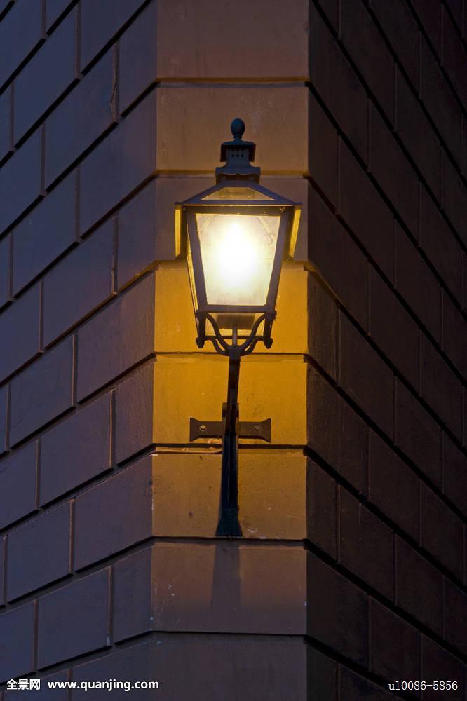 砖,暗色,电,灯,老,柱子,斯堪的纳维亚,斯德哥尔摩,风格,旧式,墙壁图片