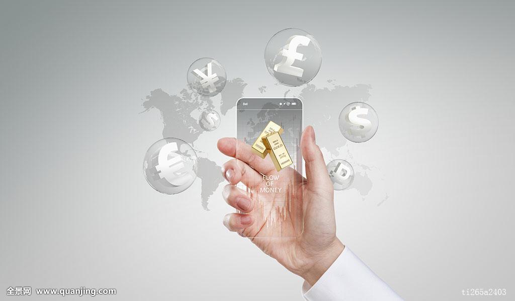 全球商务,拿着,手机,智能手机,世界地图,金条,银行,欧元,美元,汇率,人图片