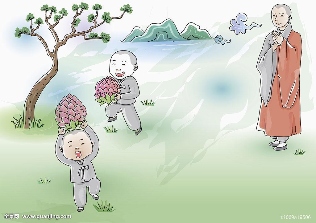 佛教,人,青春期,山,三个人,手书,莲花灯笼,笑,插画,宗教,愉悦,小学生图片