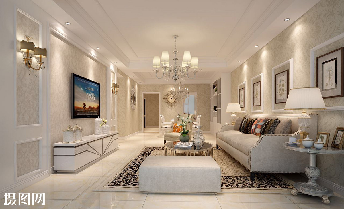 简欧,现代,装修,设计,石膏线电视背景墙,简欧墙纸,白色调简欧,简单造图片