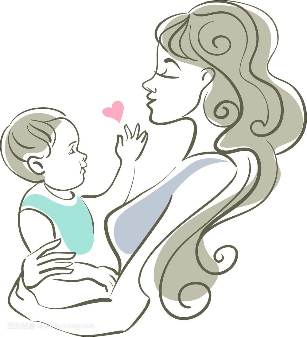 相伴,母性,心形,关爱,母婴,艺术,护理,幸福,婴儿,保养,儿童,女儿,头发图片