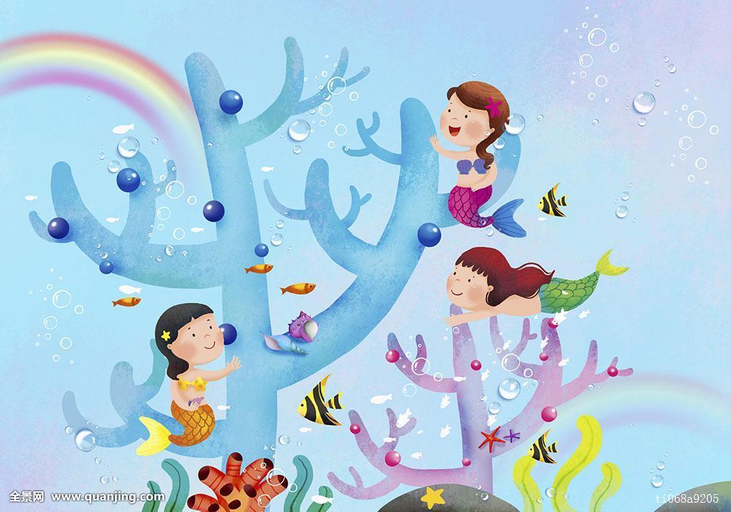 孩子,想像,思考,微笑,表情,女性,女孩,水下,自然,三个人,三个,美人鱼图片