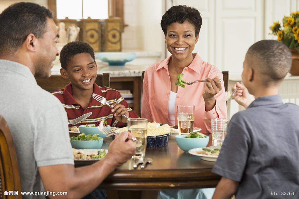 黑人,家庭,吃饭,餐饭,一起图片