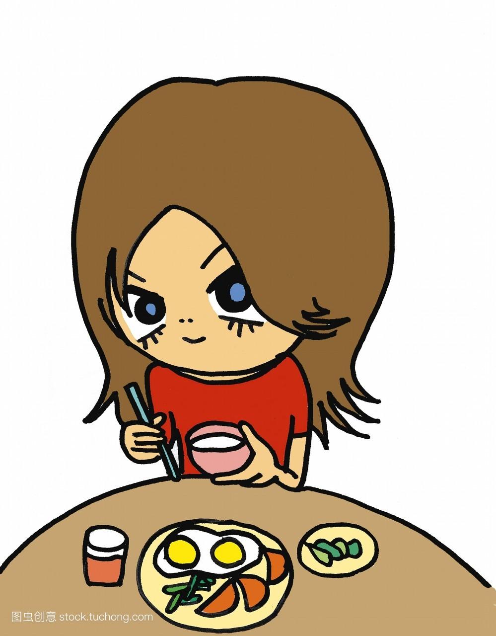 桌子,仅一个年轻的女人,滚球,蔬菜,小孩,女人,吃,食品,微笑,蛋,肖像图片