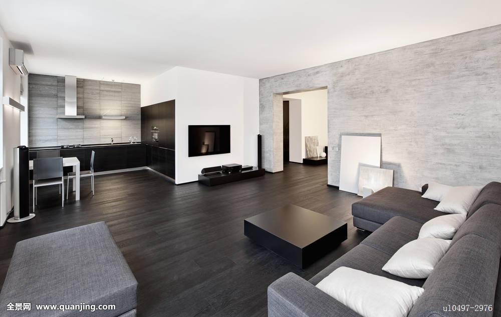 现代,简约,风格,客厅,室内,黑白图片