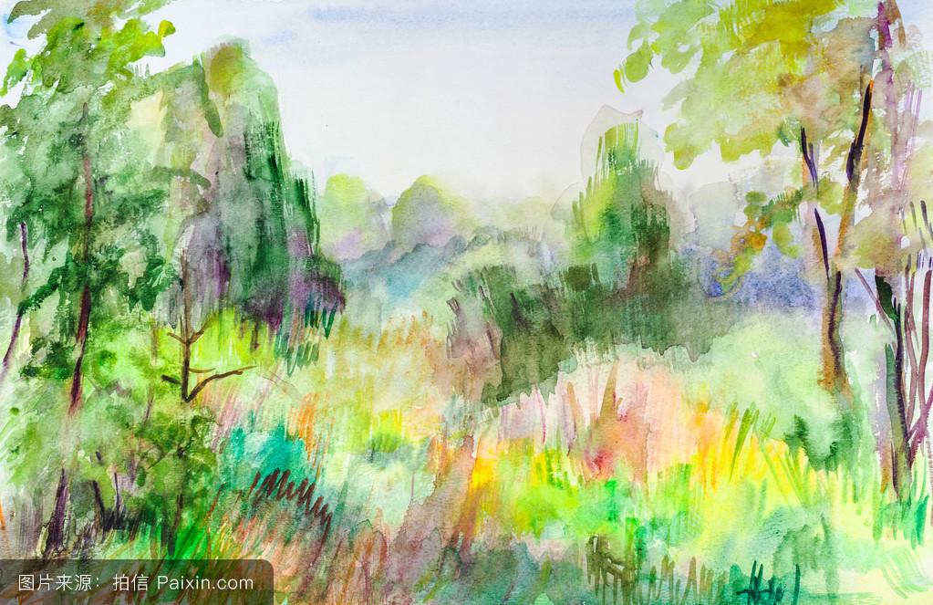 神奇的森林水彩画分享展示图片