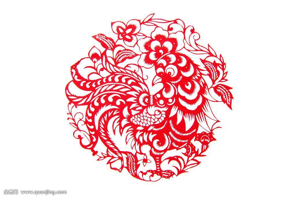 红色,艺术,装饰,动物,中国,工艺品,特写,剪纸,鸡,圆形,一只动物,创意图片