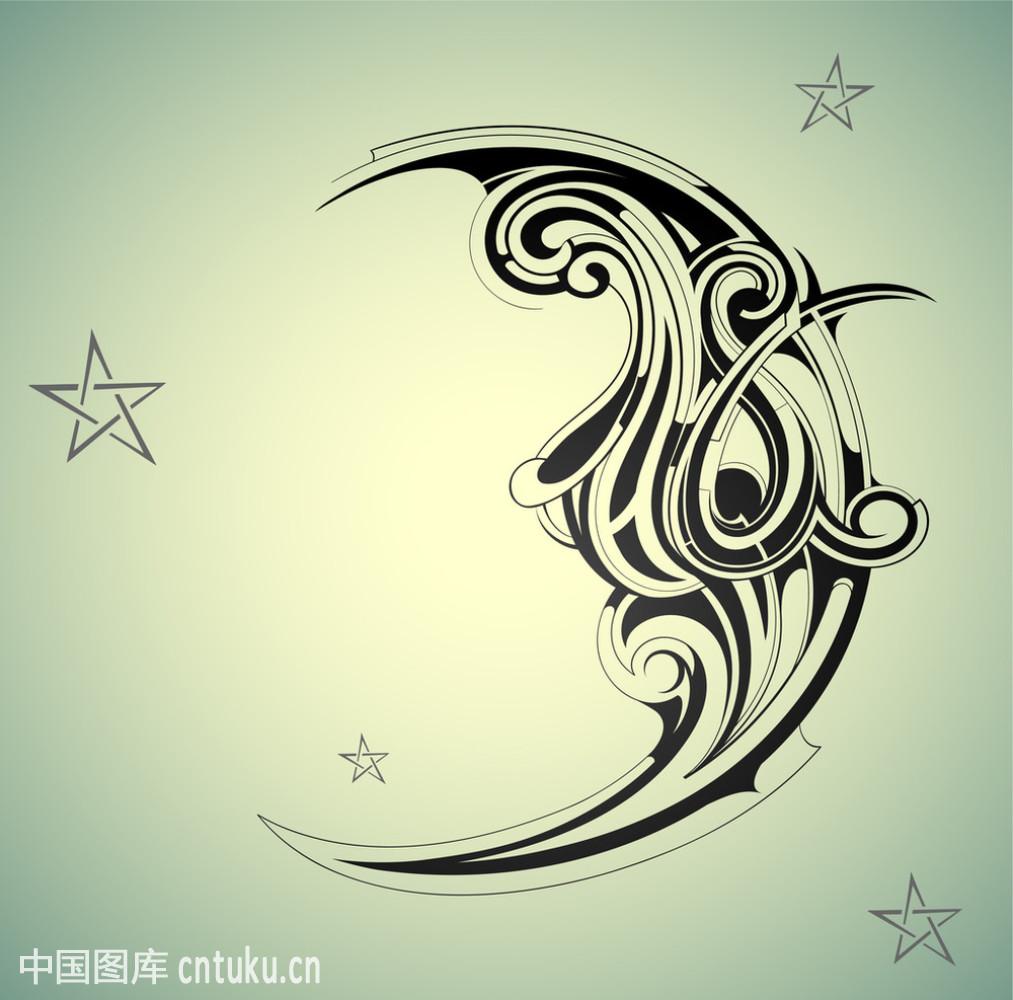 抽象,复古,黑色,设计,矢量图,天空,纹身,星星,形状,漩涡形,艺术,月亮图片