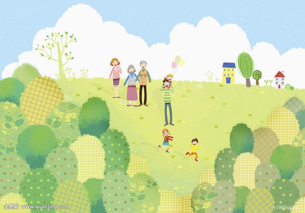 插画,描绘,人,家庭,年轻家庭,背景,几个人,人群,五个人,六个人,多口图片