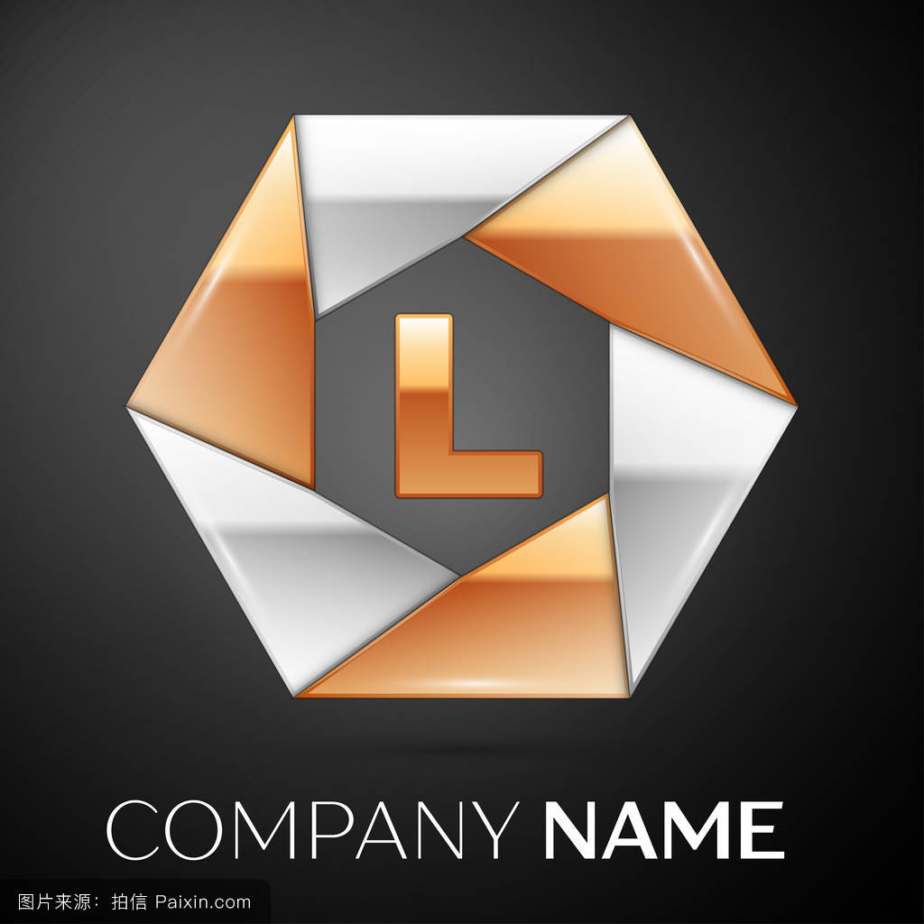 字母l矢量标志在黑色的彩色六边形图片
