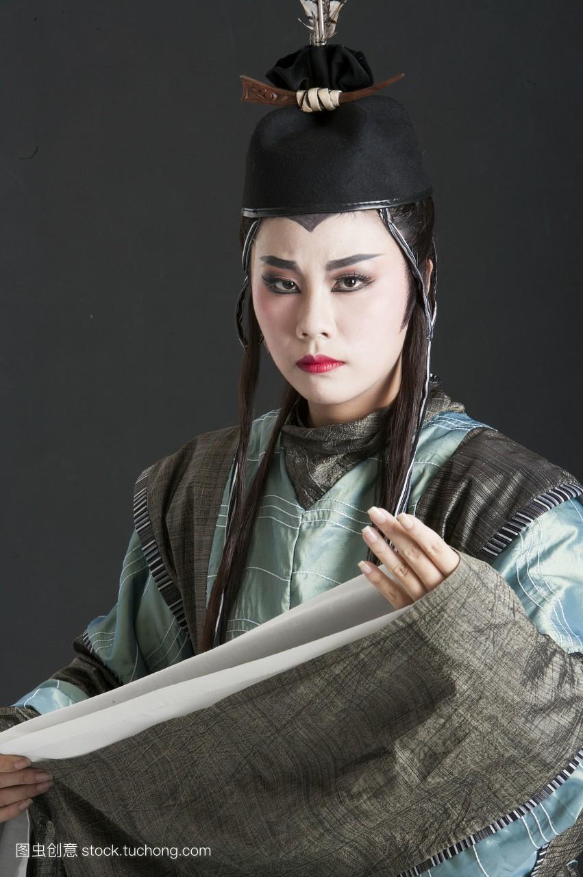 脸谱,棚内拍摄,一个人,女人,彩图,亚洲,舞台服,头饰,戏服,舞台妆,古装图片