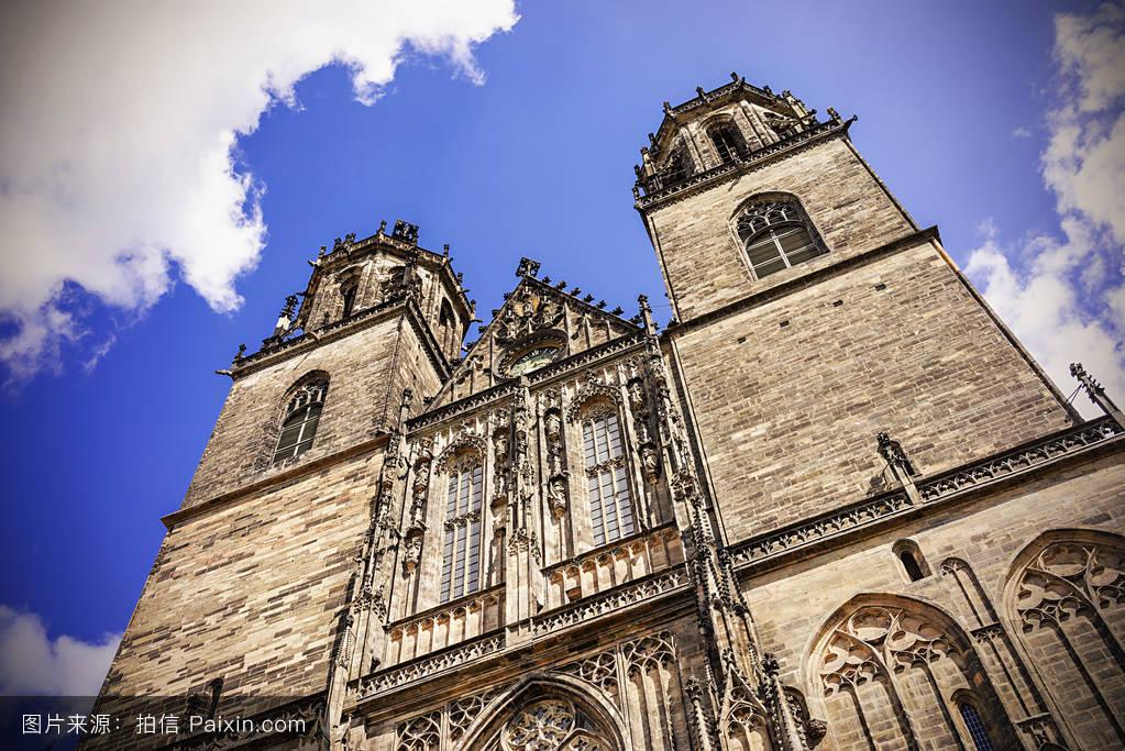 天空,中世纪,蓝色,圆顶,欧洲的,教堂,宗教,日落,大教堂,夏天,易北河图片