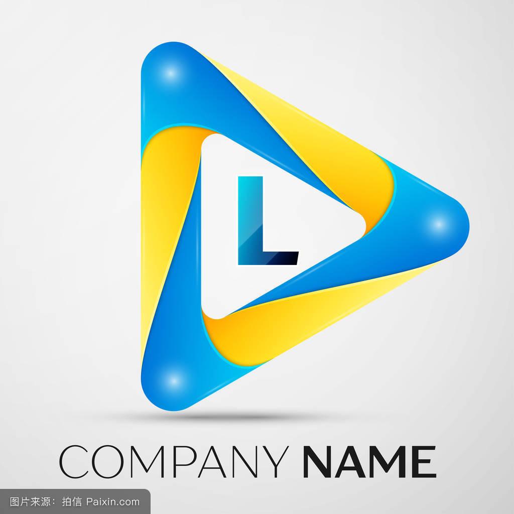 _字母l矢量标志在灰色背景的彩色三角形中.设计矢量模板
