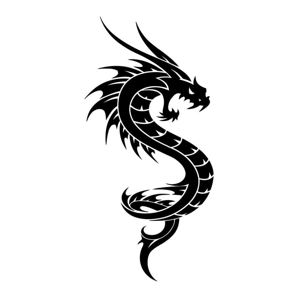纹身龙矢量部落插图图片