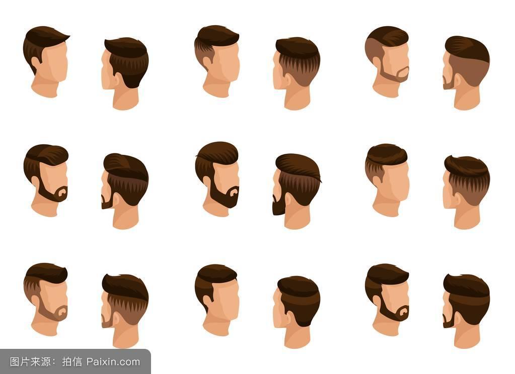 男性的,时尚商务,性格,符号,小胡子,头发,头,通信,分离,收集,时尚发型图片