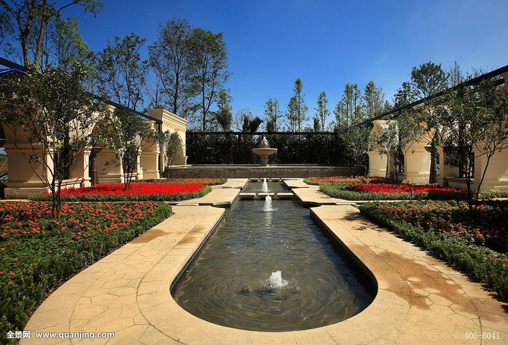 室外场景,红色的花,别墅,豪宅,园林景观,鲜花,生长,茂盛,欧式园林图片