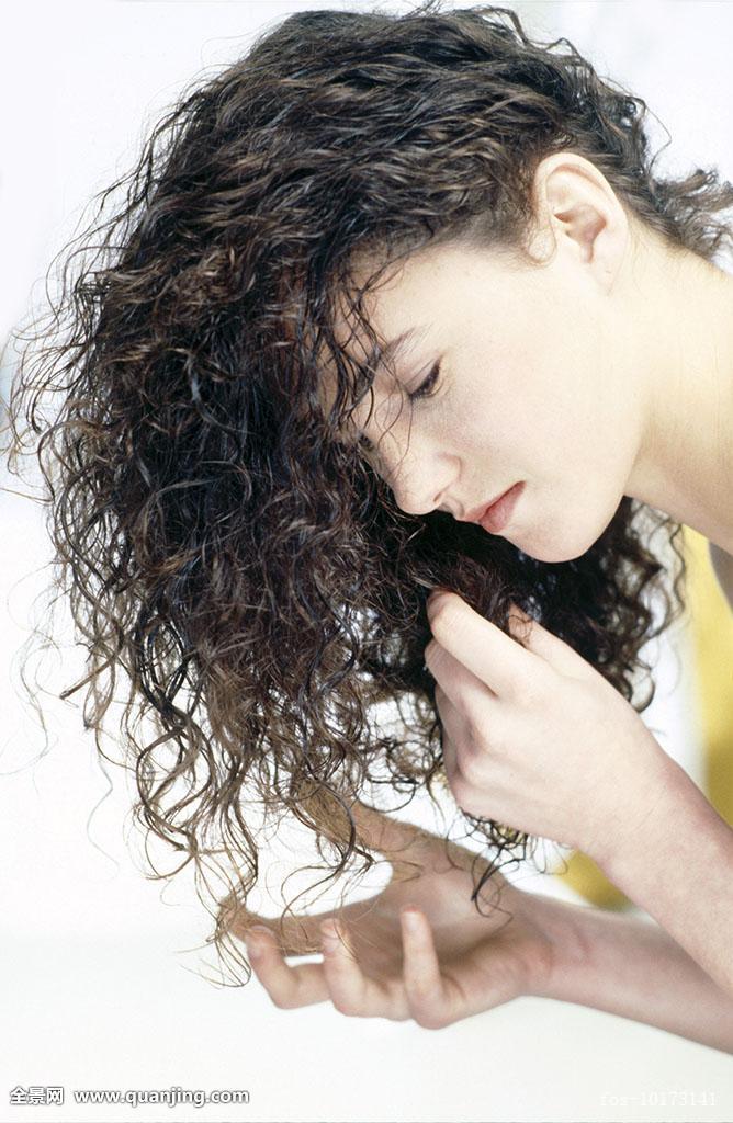 美,褐色,棕发,黑发,护理,特写,微距,卷发,头发,护发,发型,一半,侧面图片