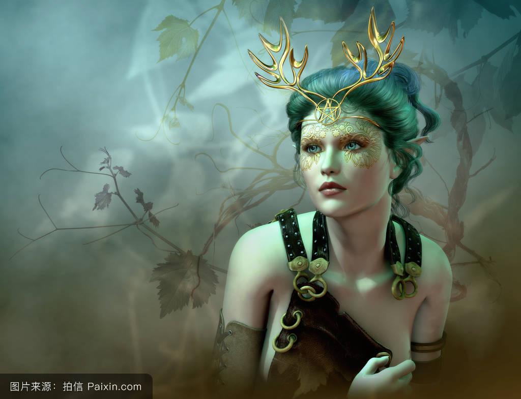 女人若虫背景面对珠宝叶仙境幻想鹿角精灵可爱的森林图片