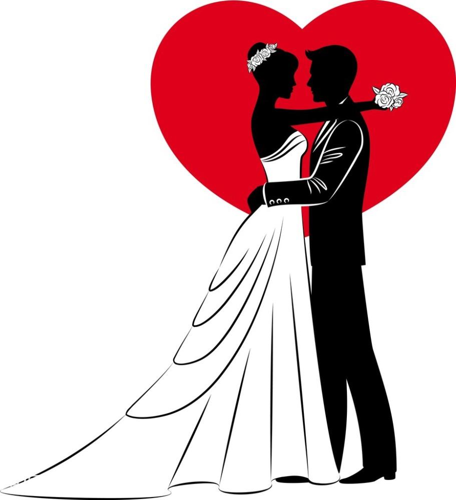 卡通新郎新娘矢量图