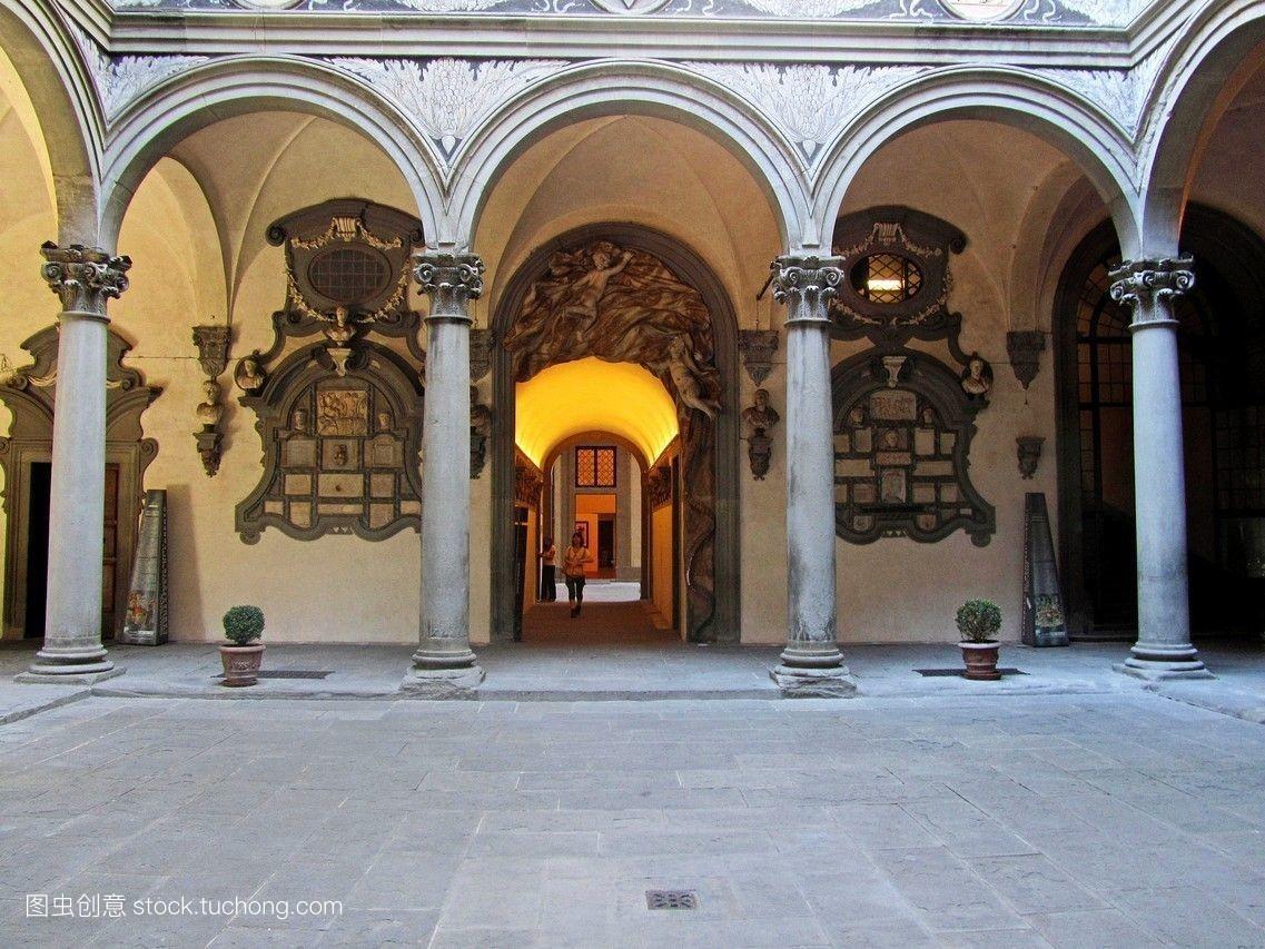 欧洲,庭院,柱子,意大利,托斯卡纳区,宫殿,佛罗伦萨图片
