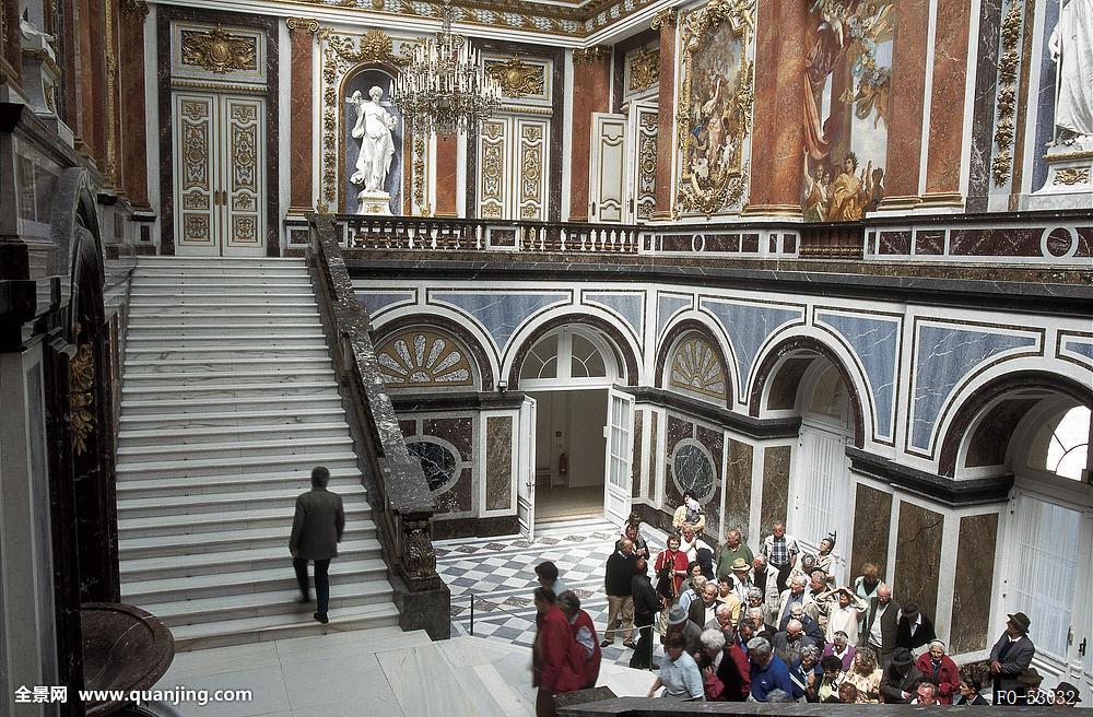 德国,海伦基姆湖堡,室内,国王,宫殿,邸宅,阶梯,楼梯井,游客,风景图片