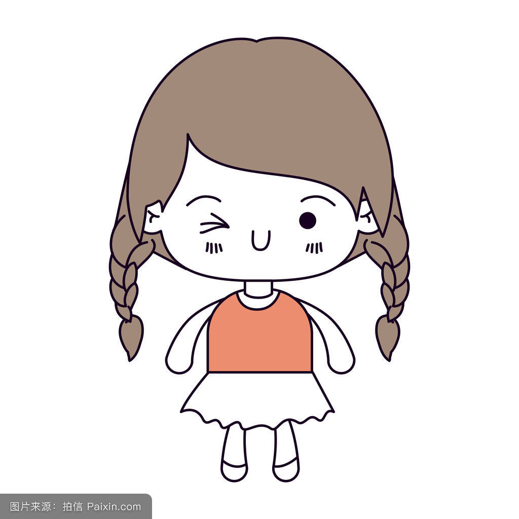 轮廓颜色部分和可爱的小女孩的辫头发和面部表情眨眼的浅棕色头发图片