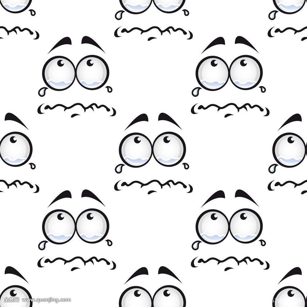 脸,哭,图案,卡通,情感,不开心,漫画,悲伤,无缝,表情,人,象征,满,眼泪图片