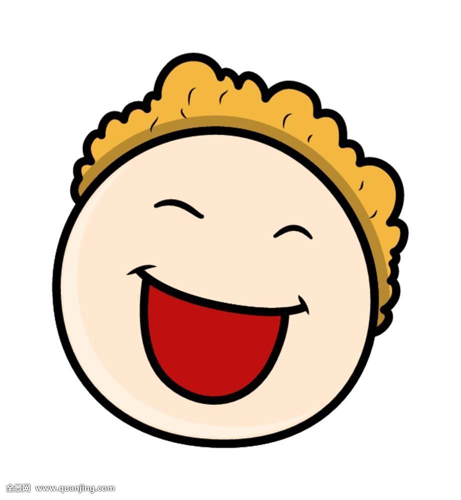 插画,卡通,滑稽,脸,表情,年轻,人,侧面,高兴,情感,微笑,眼睛,单纯图片