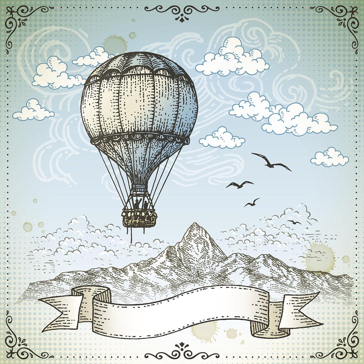 热气球,数码图形,古典式图片