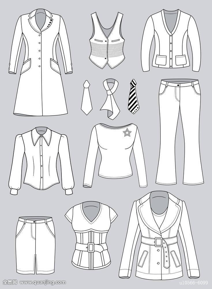 黑色衣服绘画时尚正面灰色插画外套牛仔裤轮廓袋十一图片