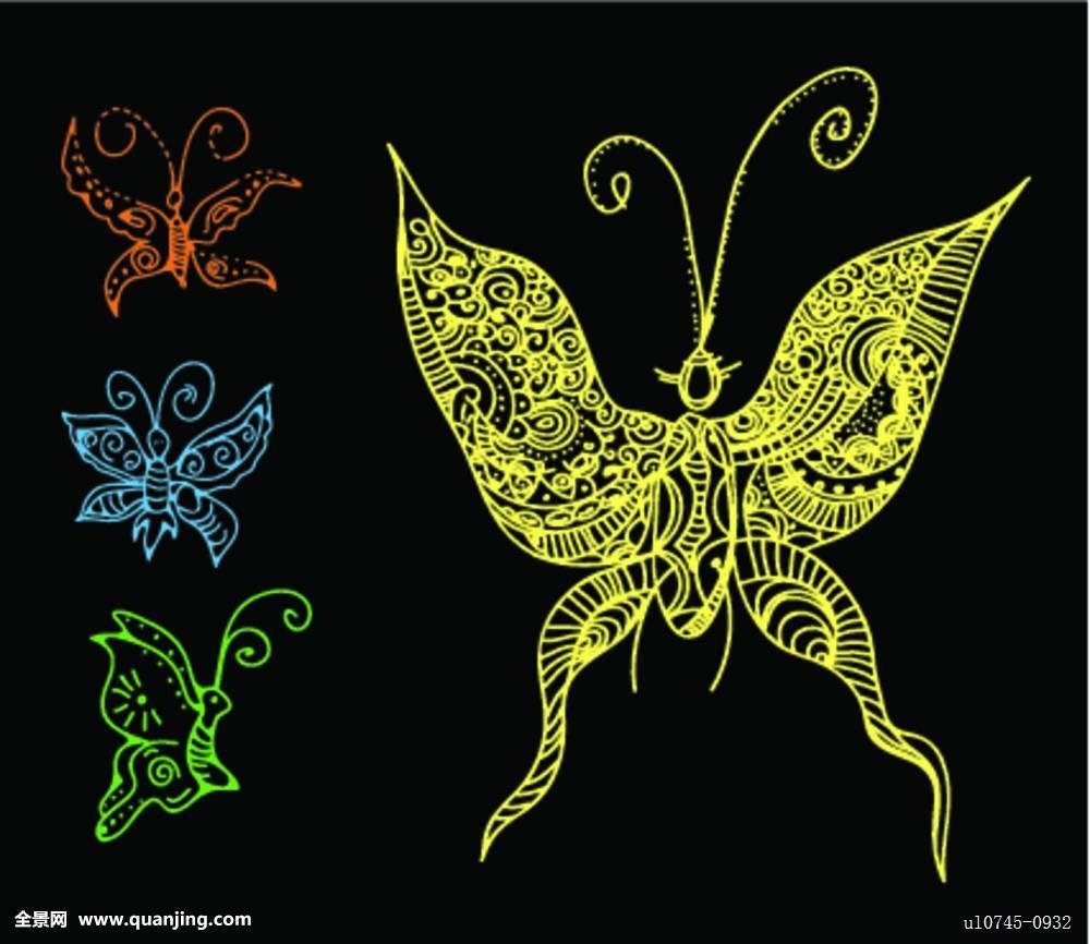 蝴蝶,纹身,风格图片