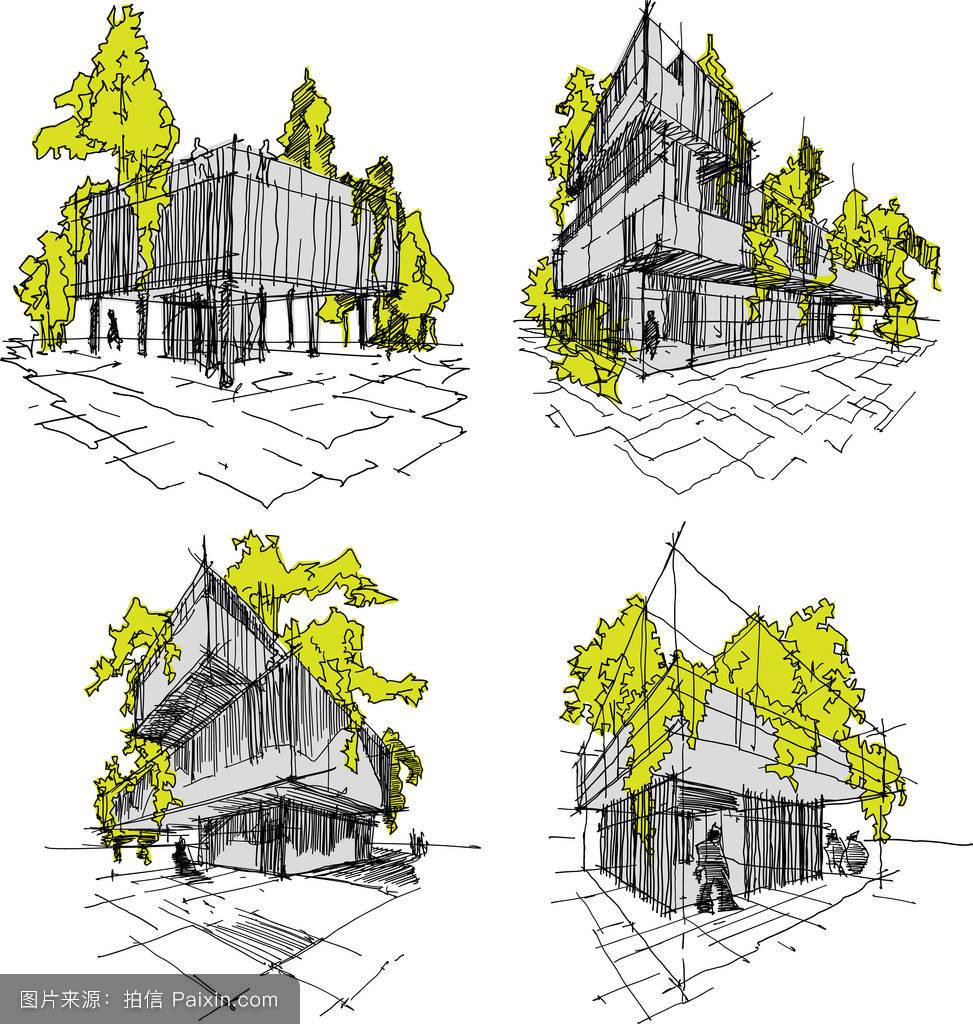 素描,生态学,概念,设计,建筑学,建筑师,房子,创造性的,手绘,钢笔画图片