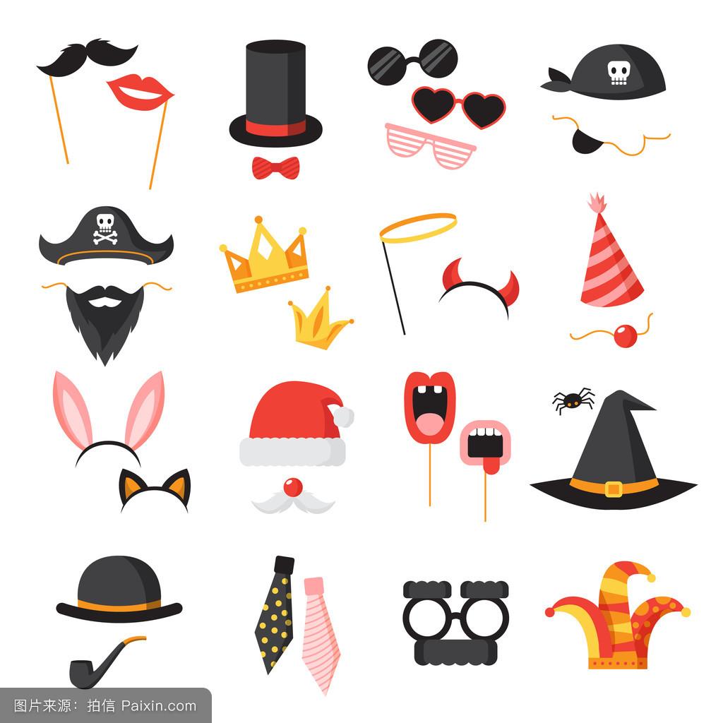 侦探,道具,假期,假面舞会,符号,对象,平的,王冠,概念,聚会,玩,收集图片