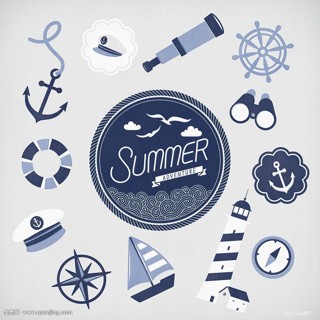 英文_插画,油漆工,夏天,季节,无人,物体,文字,英文,旅游,度假,暑假,蓝色,圆