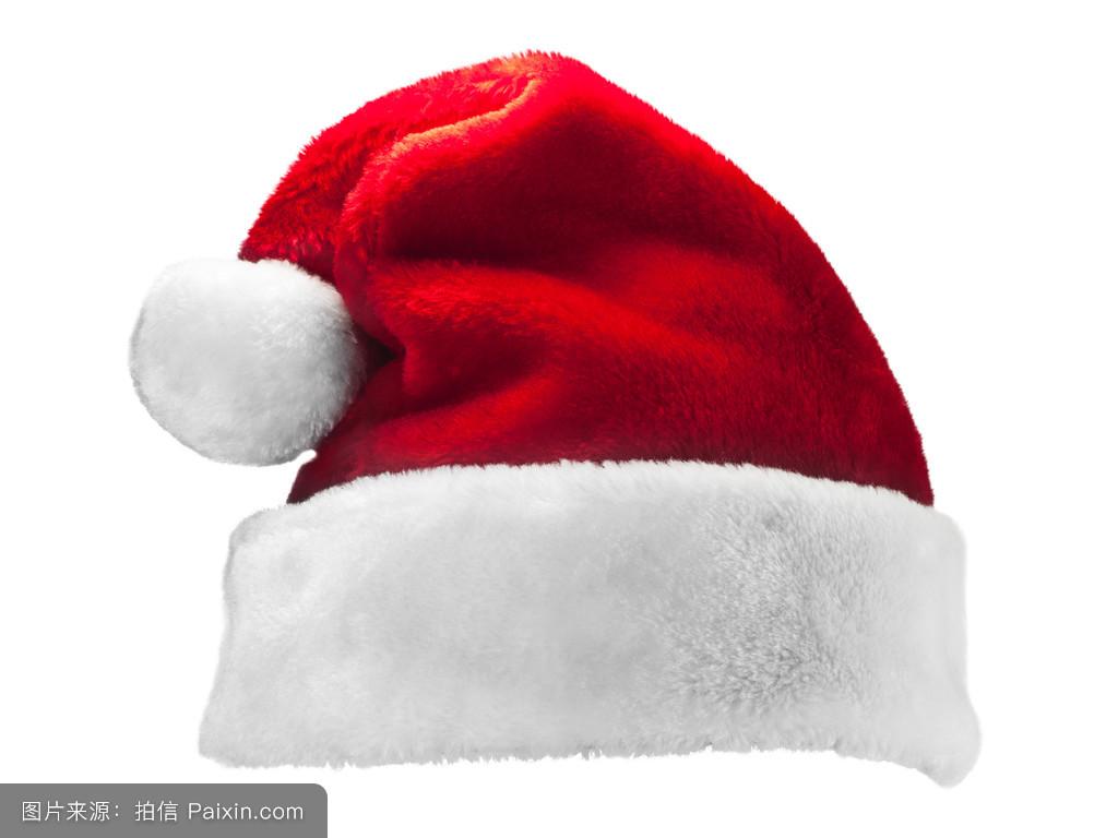 帽子_白色背景下的单人圣诞老人红帽子