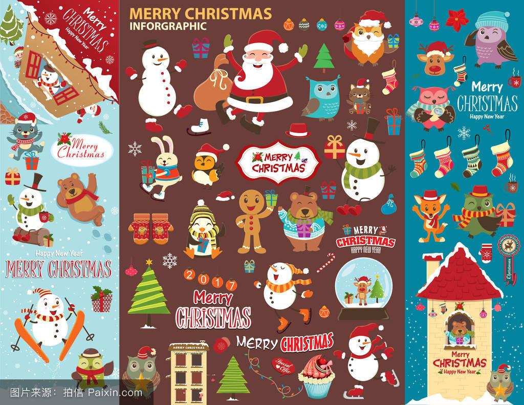 背景,偶像,树,十二月,圣诞快乐,复古的,冬天,驯鹿,菜单,钟,标签,排版图片