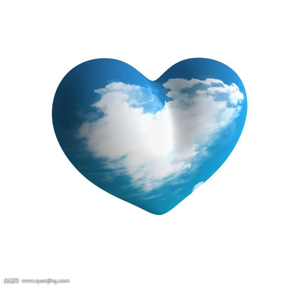心形,喜爱,天空,云,人造,塑料制品,情人节,蓝色图片