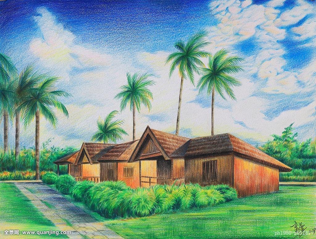 海南风光,插画,铅笔画,色铅笔画,写实,写实绘画,手绘风景,手绘明信片图片