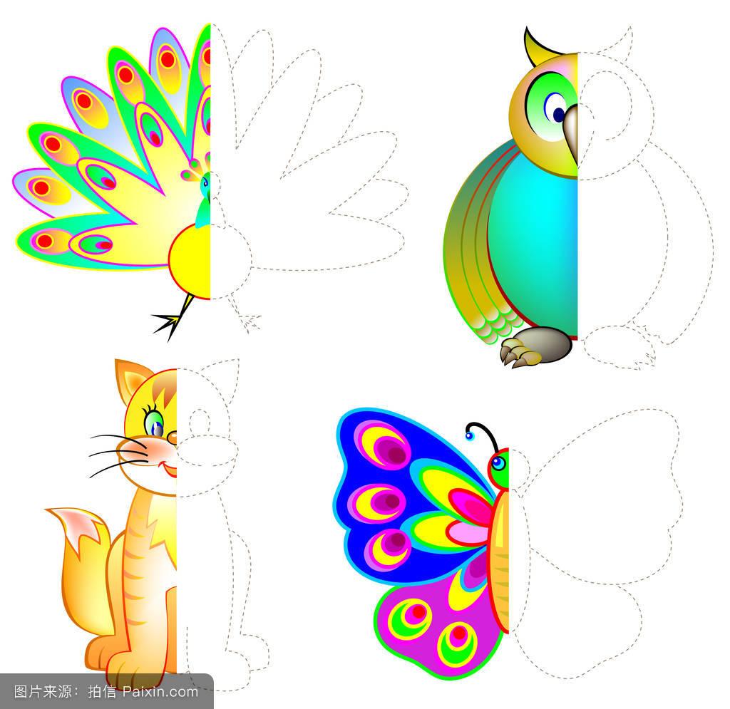 小孩,儿童,矢量,书,对称性,技能,教育,油漆,教材,模板,学校,动物,幼儿图片