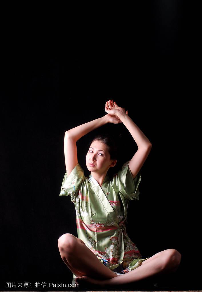 操淫��f_体操,有吸引力的,传统的,美丽的,面对,头发,头,生活方式,丝绸,瑜伽