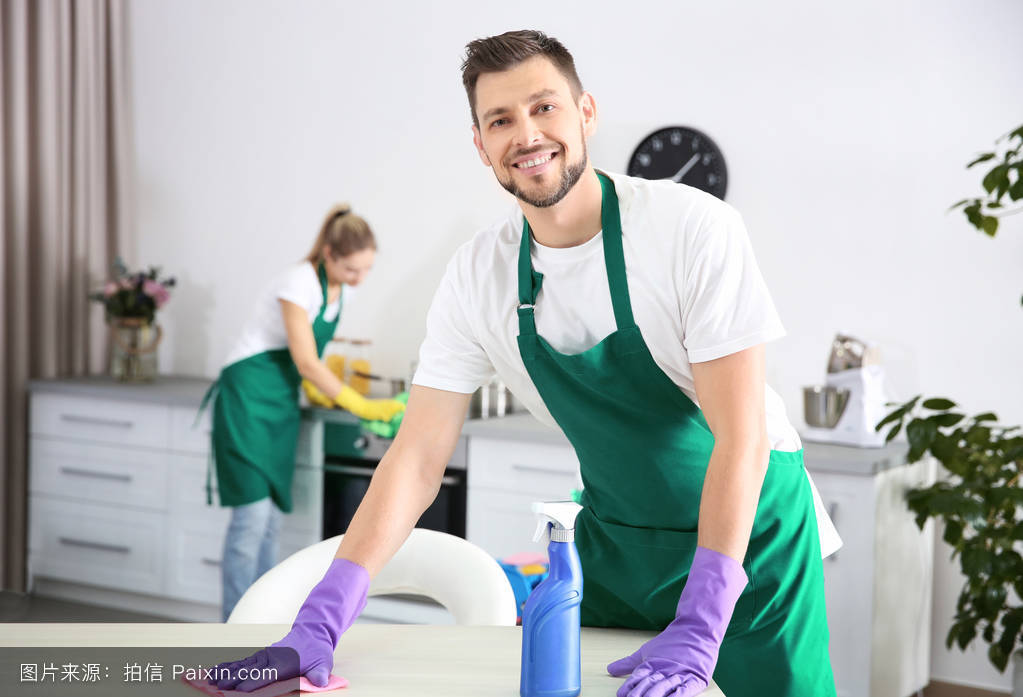 young male worker of cleaning service