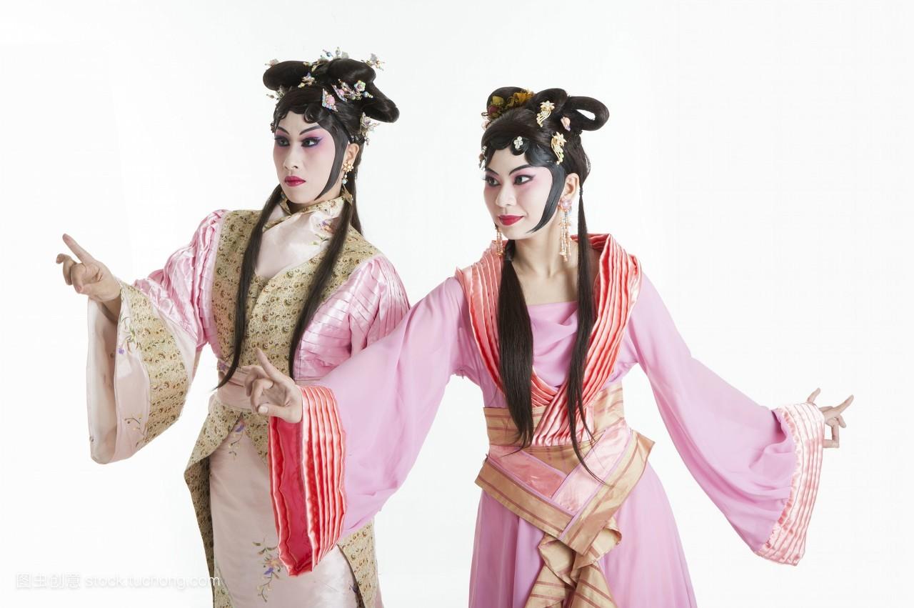 二个人,彩图,中老年女人,头饰,脸谱,古装,中国,中华传统艺术,舞台妆图片