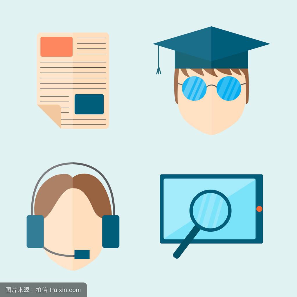 纸,信息,地球,符号,教育图标,知识,化学,平的,概念,头,矢量,数学图片