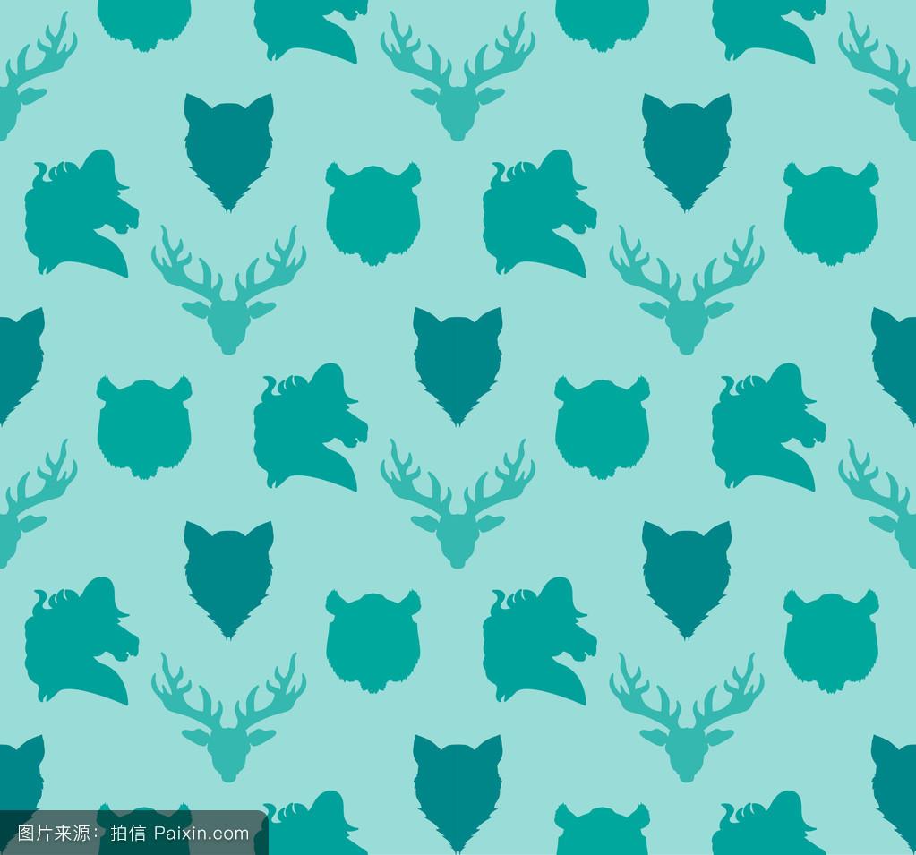 颜色,复古的,要素,打猎,老虎,狗,包,动物,西方的,动物园,装饰,鹿,狐狸图片