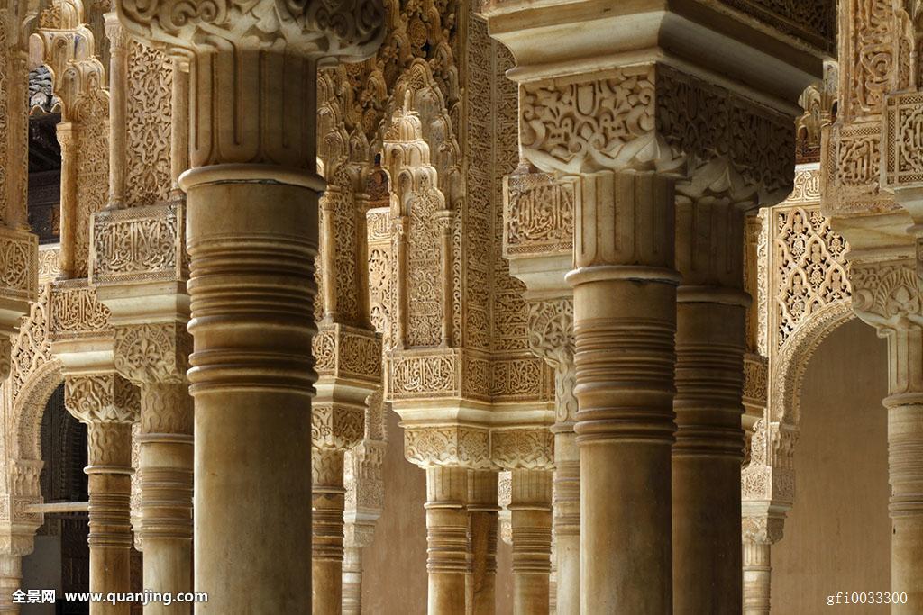 纳斯里王朝,宫殿,柱子,阿尔罕布拉,格拉纳达图片
